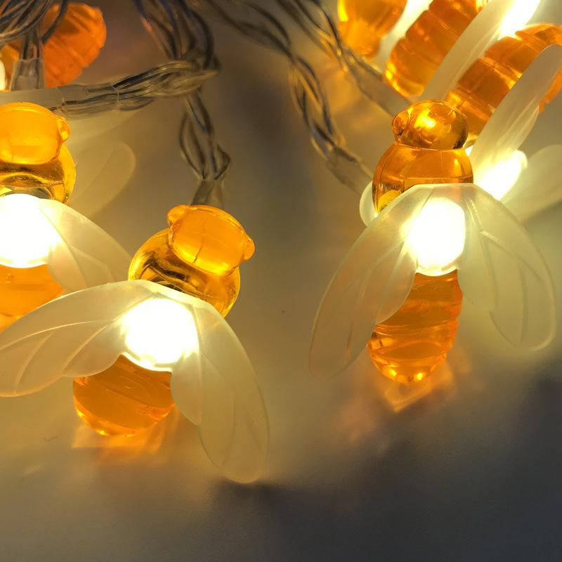 LED 조명 문자열 작은 꿀벌 웨딩 크리스마스 등불 웨딩 룸 로맨틱 한 장식 야간 조명 10085