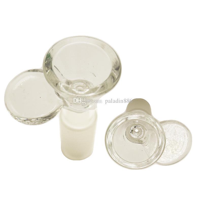 Großhandel Klar 14mm 18mm dicke Glasschüssel Male Joint mit Griff für Öl Dab Rig Bong Werkzeug Aschfänger Glas Bong Rauchen Mithelfer