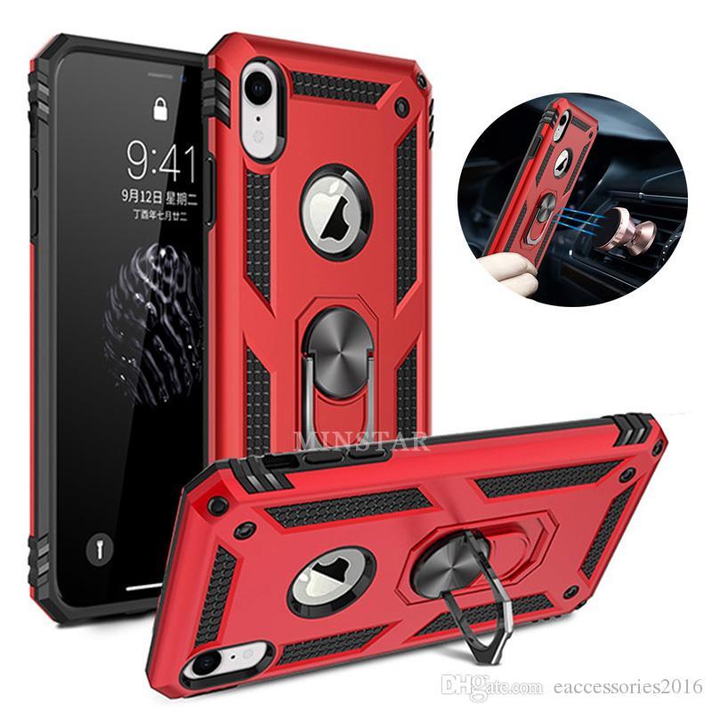 Magnética sostenedor del anillo de pata de cabra caso híbrido combinado Delgado Ammor para el iPhone 11 Pro Max 2019 XS XR SE2 6S 7 8 Plus de Samsung Nota 10 S20 Plus Ultra