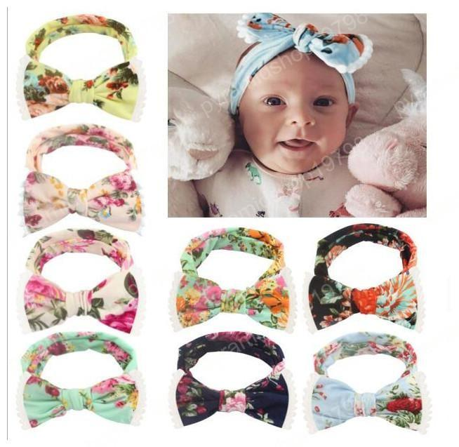 INS infant kids bow tie headbands Bohemia boho Flower Headwraps children cute hair bands baby hair accessories