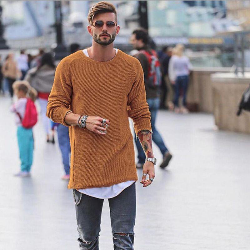 Moda-Casual Suéter de los hombres de color sólido Chaquetas de manga larga Jersey con cuello en O Jersey de punto Saltos largos Otoño de gran tamaño Tops de palangre juvenil