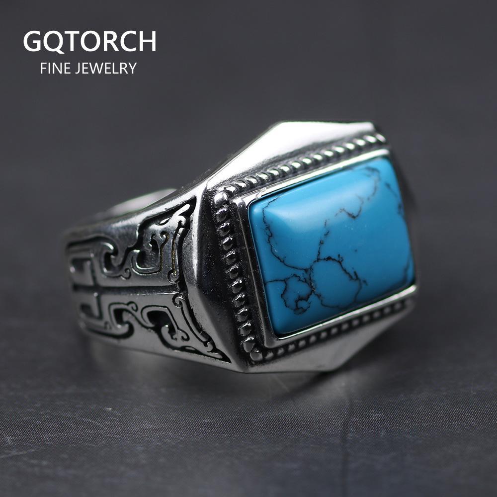 Подлинные 925 стерлинговые серебряные кольца для мужчин ИНСЛОВИТЬ натуральный камень мужские кольцевые полигон старинные дизайн регулируемые украшения Турции