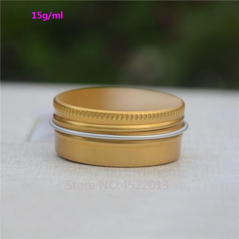15g / ml 50pcs100pcs cosmética de aluminio crema tarro, lata vacía del metal del oro Máscara Cosmética portátil de almacenamiento Pot, lápiz labial Sub Container