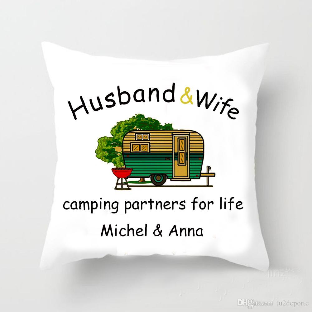 Personalizado Camping Vida Lance Fronha Capa de Almofada Quadrada Personalizar Trailer Marido Esposa Nome Travesseiro Caso 45X45 CM