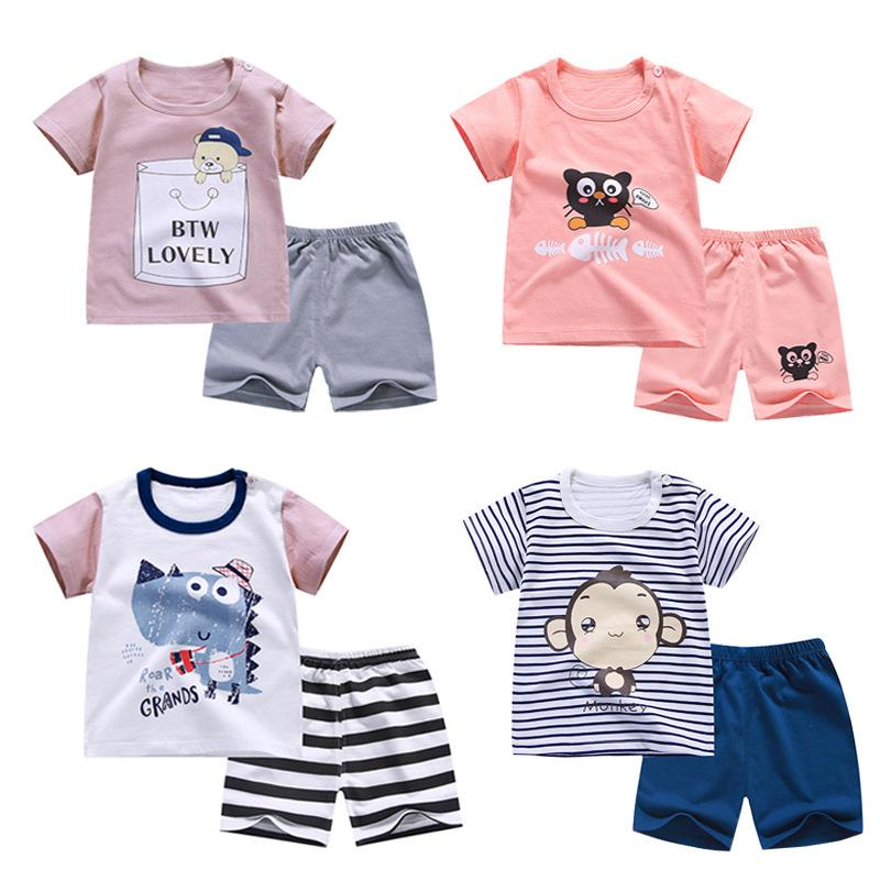 HITOMAGIC 2020 New Hot Sale Children Shorts Girls Boys Suit With Pants Cotton For Summer Kids Baby T-Shirt Boy Girl Short Sets