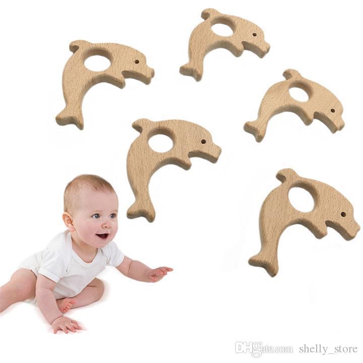 Детские Прорезыватель Пищевой Соска Животных Дельфин Форма Деревянные Прорезывания Зубов Кормящих Жевать Ожерелье Детские Душевые Игрушки