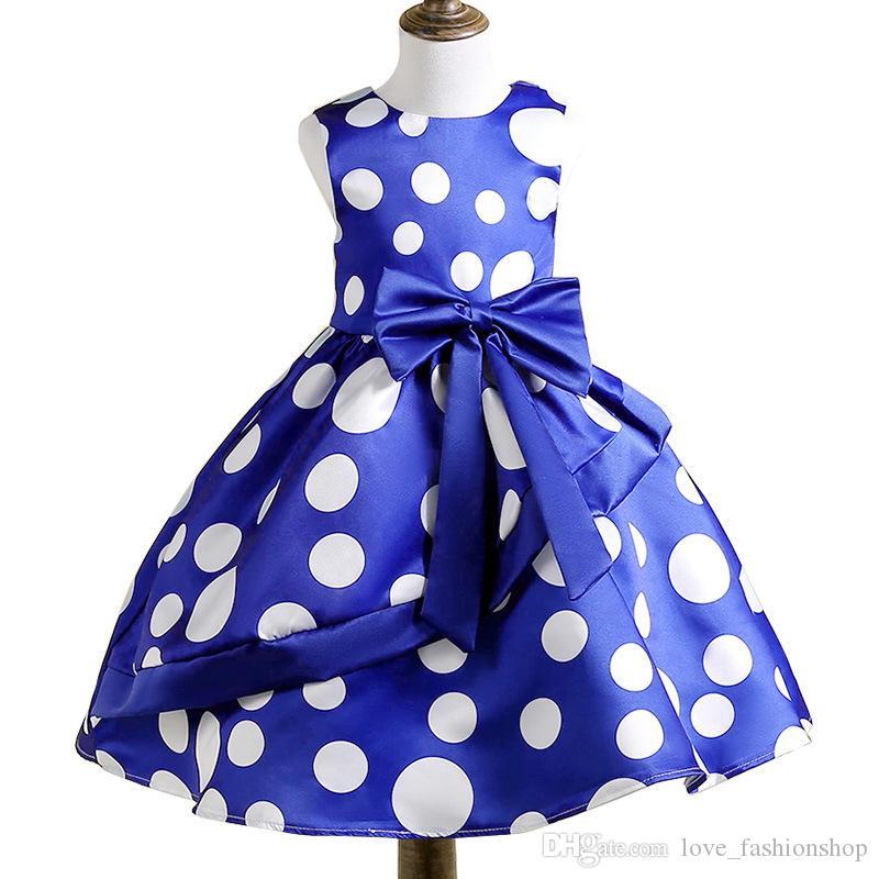 2019 New Baby Girls Polka Dot Bow Vest Princess Dress Kids designer clothes girls Summer Sleeveless Fashion Party Formal Prom Dress Cosplay