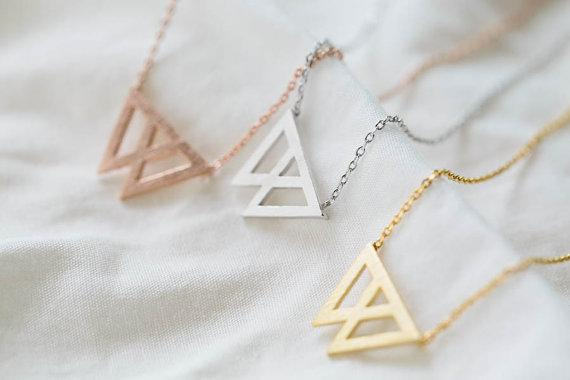 Fashion cartoon mountain necklace overlap triangle necklace