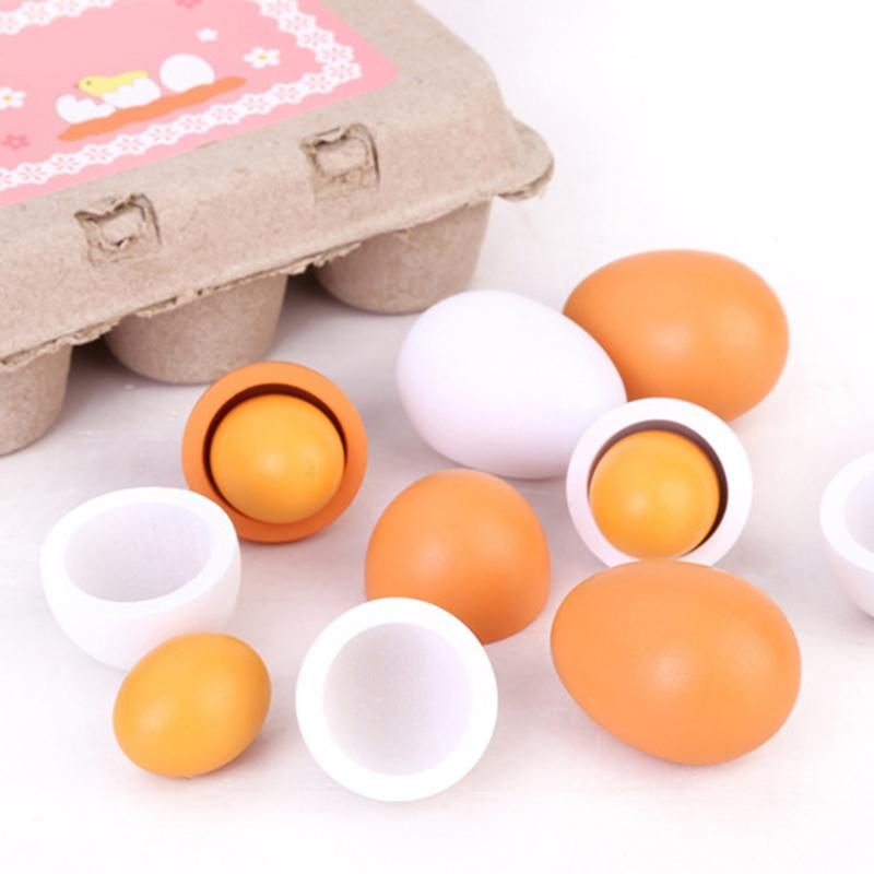 Pretender cocina huevo juguete simulación de madera huevo pato huevo bebé juguete educativo simulación cocina aprendizaje cognitivo juguete para bebé