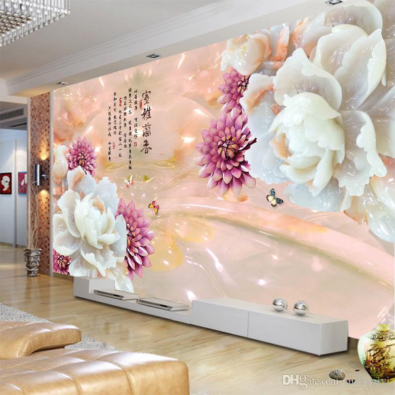 Personnalisé 3D grand mur papier peint marbre texture modèle design pour TV canapé chambre fond mur mur pivoine soie mur papier