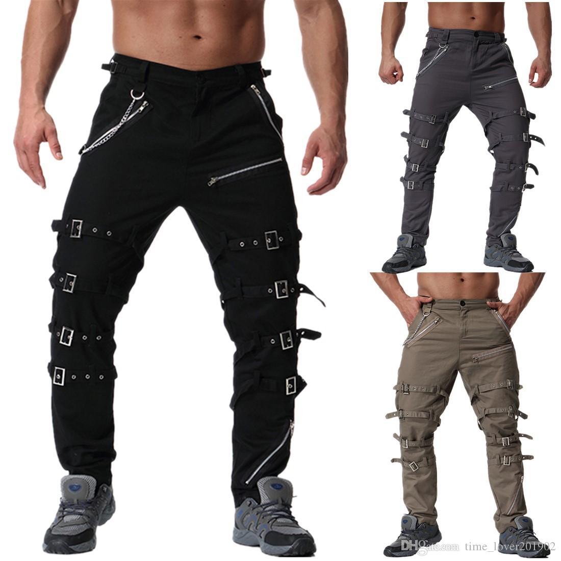 2019 personalità maschile in metallo decorazione pantaloni casual di grandi dimensioni pantaloni lunghi K013