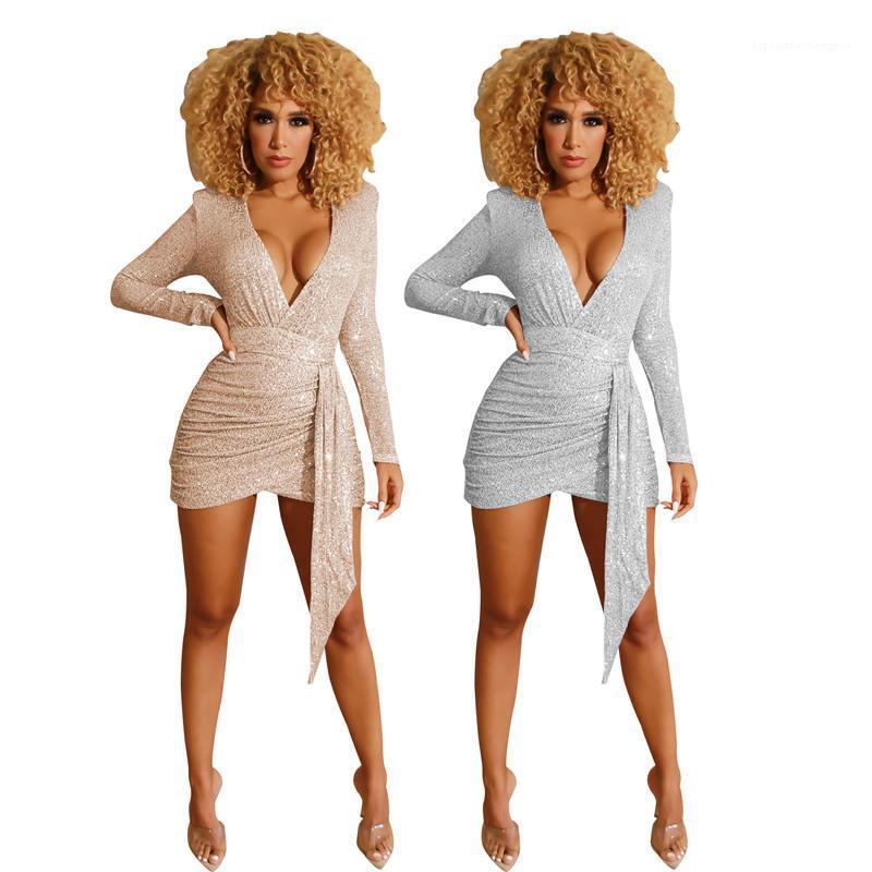 Coluna V Neck Vestidos Verão BODYCON cor sólida Womens Desginer Vestuário Sequins Womens Sexy Partido Vestidos profunda