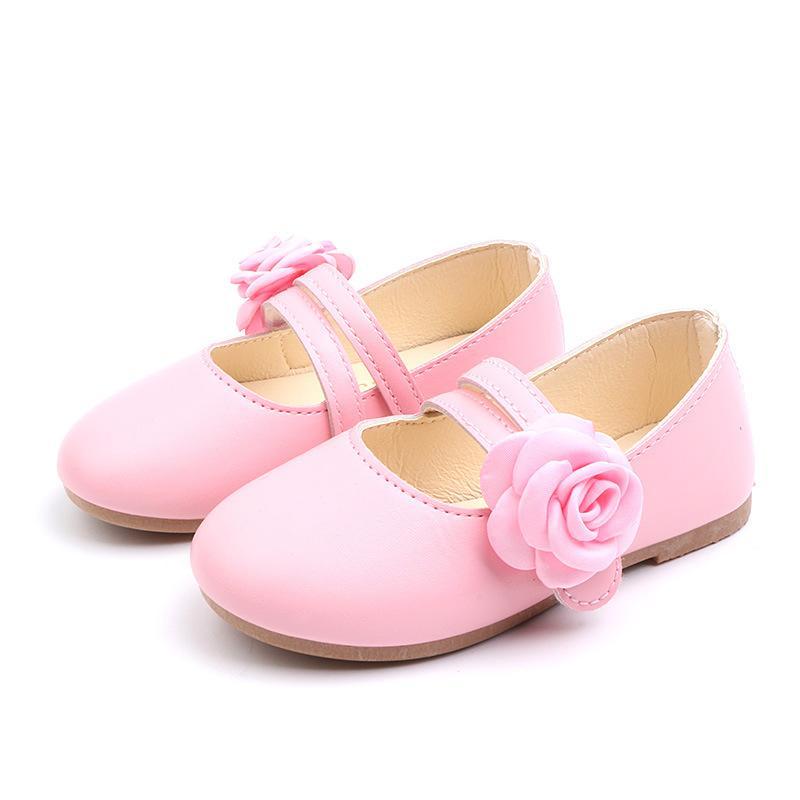 2020New Детская обувь мягкой нижней цветок принцессы Обувь для девочек chaussure Fille Девчонки Single White Pink Gold 2 3 4-14T