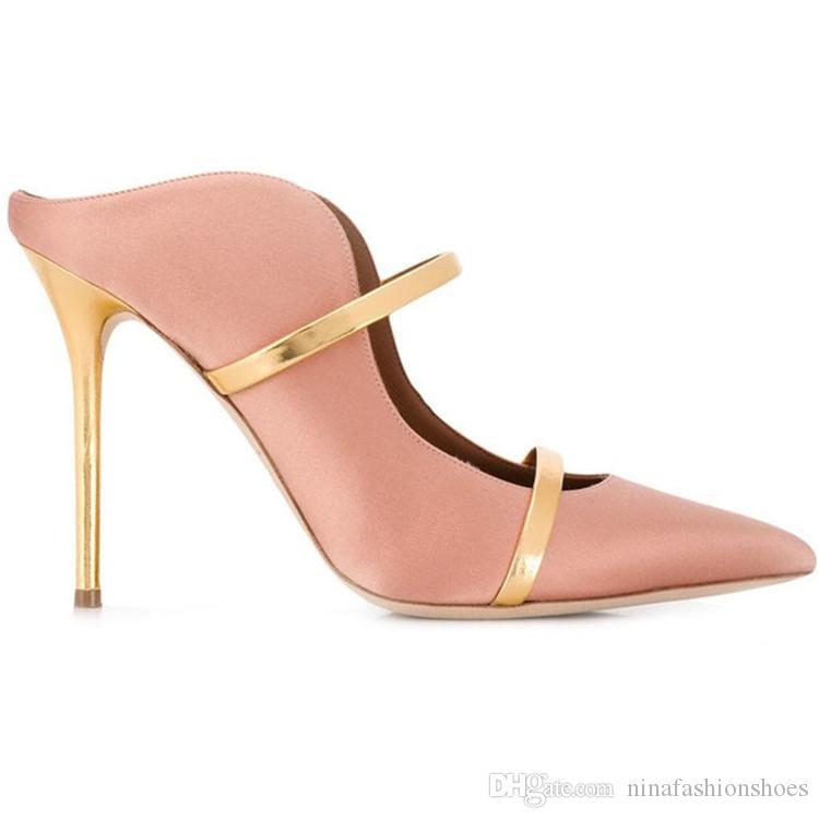 Moda Dedo Apontado Cetim Bombas Mulheres Slip On Thin saltos altos cinto duplo Bombas para banquetes sapatos sapatos preguiçosos