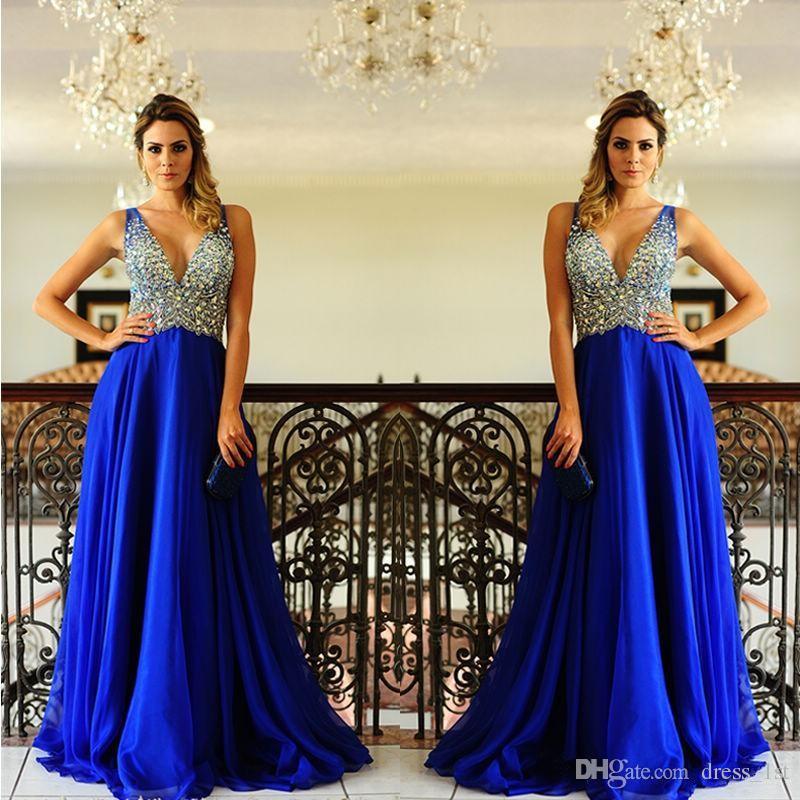 Потрясающие 2019 новые платья выпускного вечера V шеи красочные кристаллы бисером лиф линии длиной до пола королевский синий шифон Vestidos de fiesta largos