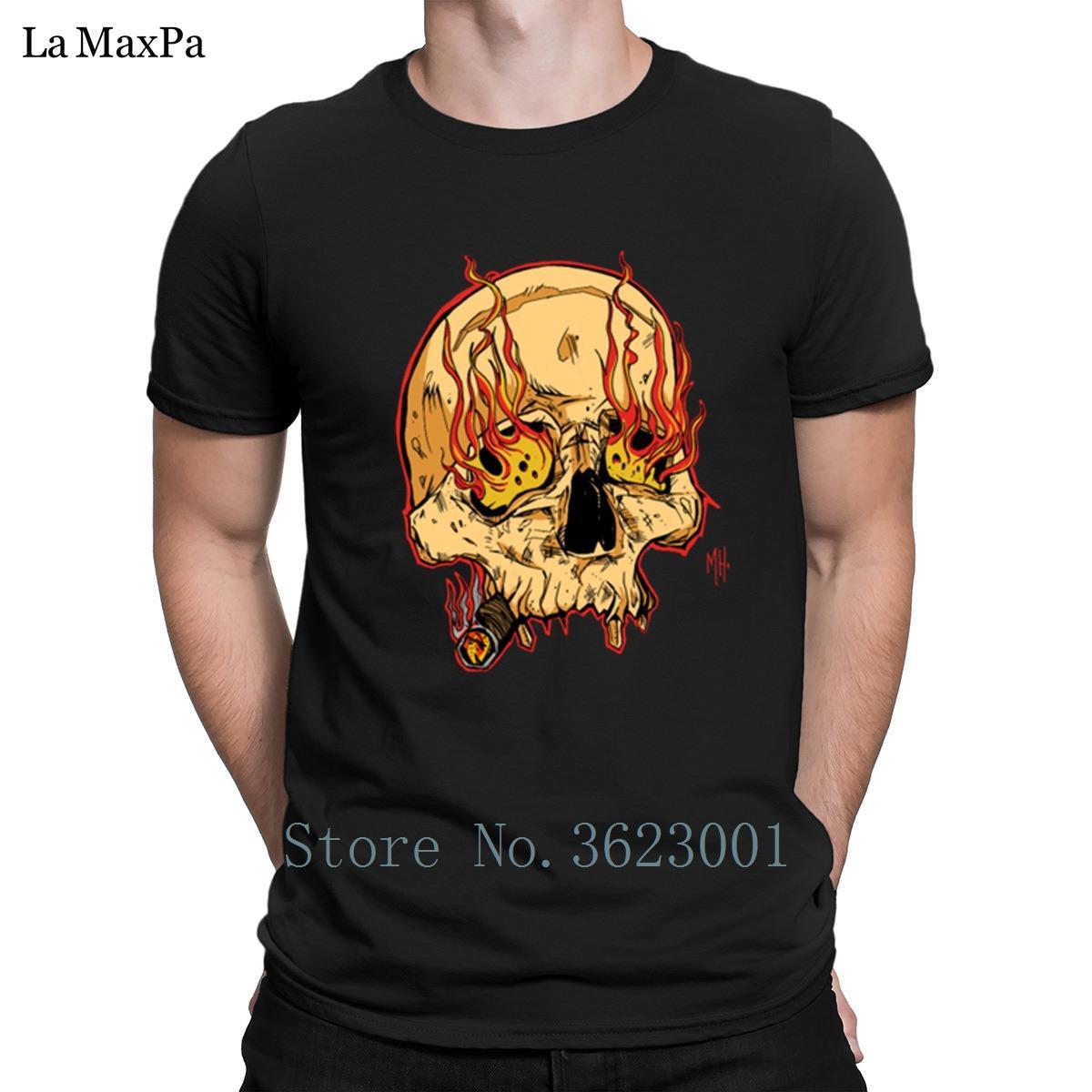 Designer T vestiti convenzionali Cranio Con Sigaro T-shirt per Uomo Casual Impressionante Mens maglietta Euro Size Tee Shirt Fit