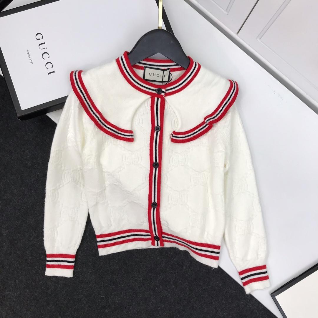 Девочек свитер устанавливает детскую дизайнерскую одежду большой волны воротник кардиган свитер + юбка 2шт контрастного цвета шить дизайн осень комплект
