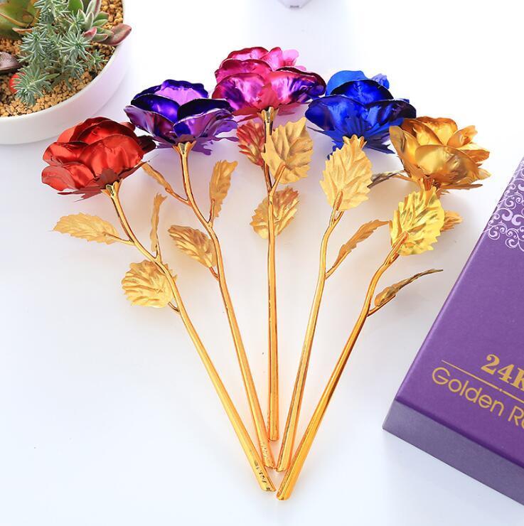 Artificiale lungo gambo del fiore 24k regalo della stagnola di oro placcato Rose per Amante Matrimonio Natale San Valentino Festa della mamma decorazione domestica LXL837-1