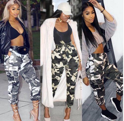 2018 Yaz Yeni Stil Moda Kadınlar Camo Kargo Pantolon Rahat Pantolon Askeri Ordu Savaş Kamuflaj Kot