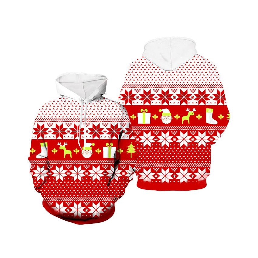 Uomo Donna Moda Felpa con cappuccio di colore di Natale Felpa con cappuccio Mens casuali di tendenza del pullover di usura Superiore all'ingrosso di qualità