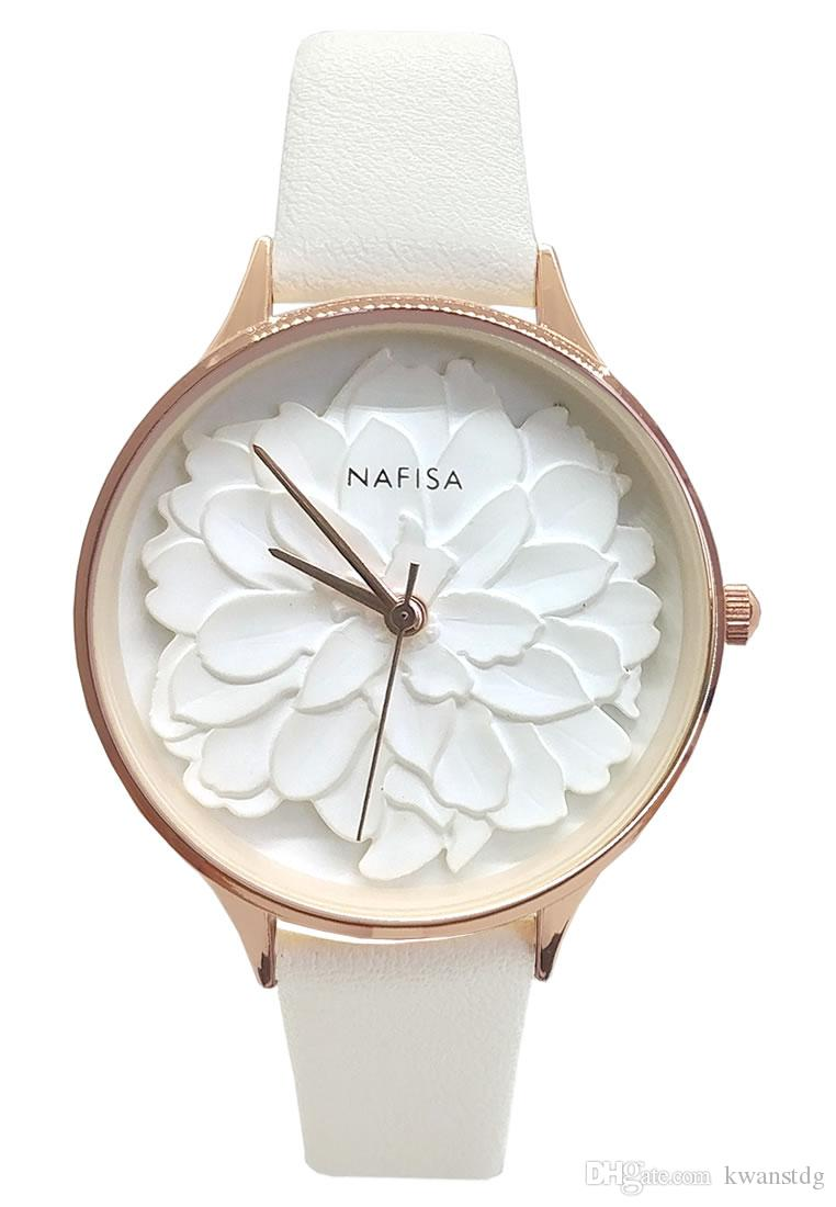 Nafisa Women's 2019 Hot Fashion Frost White Embossed 3D Peony Flower Dial Japan Quartz Black Leather Strap Wrist Watch NA-0129