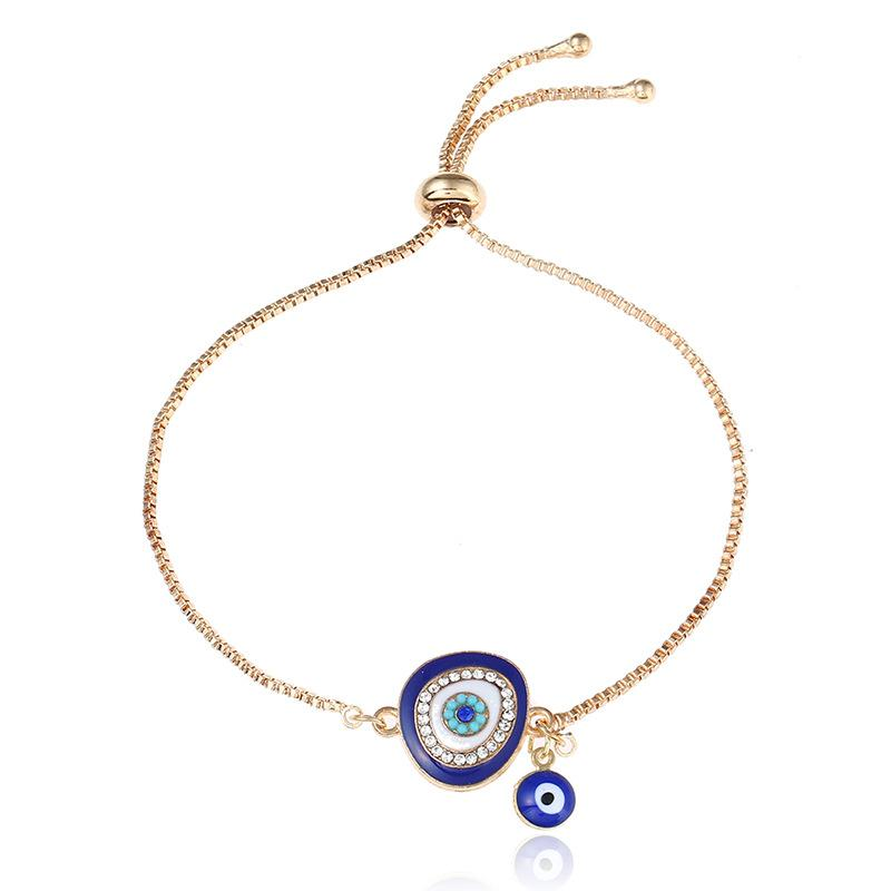 2019 Good Luck Hamsa hand Charm Blue Evil Eye Bracelet Jewelry Turkey Fatima Hand Handmade Gold Color Chain for woman gift