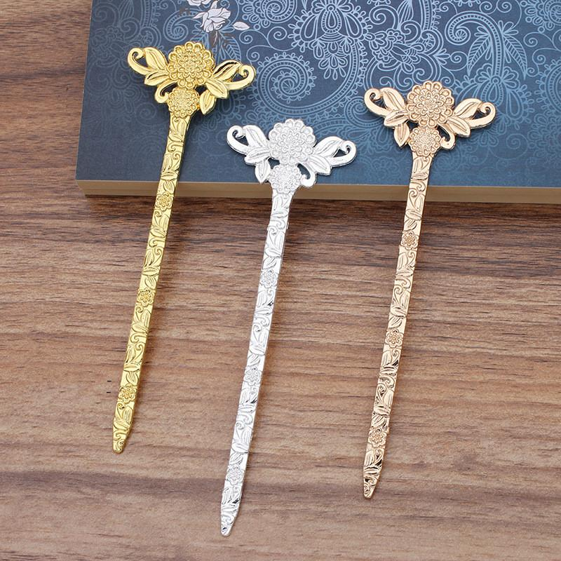 5 PCS 130*41mmm Vintage Metal Alloy Silver Gold Flowers Hair Sticks Setting DIY Women Hairwear Decoration For Jewelry Making