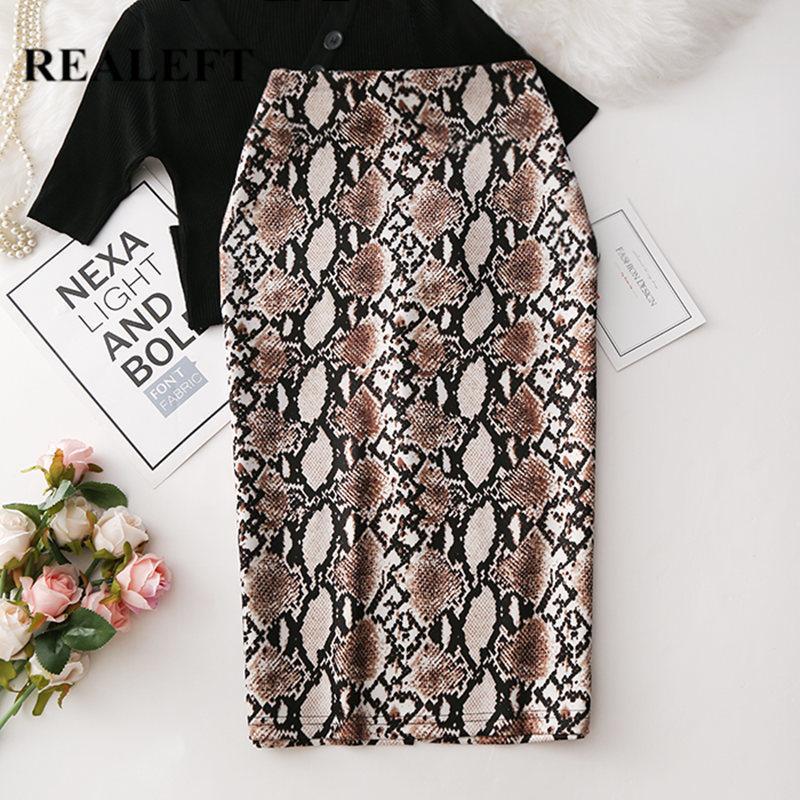 REALEFT 2020 Women Snake Printed Pencil Wrap Skirts New Arrival High Waist Knee-Length Bodycon Sheath Midi Skirts for Ladies CJ200326