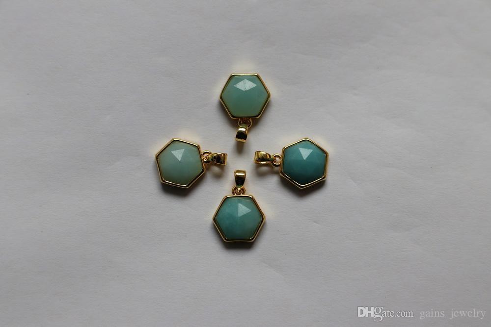 12*14mm six corner gemstone pendent with brass base in 18k gold plating. amethyst; amazonite; pyrite; rhodonite