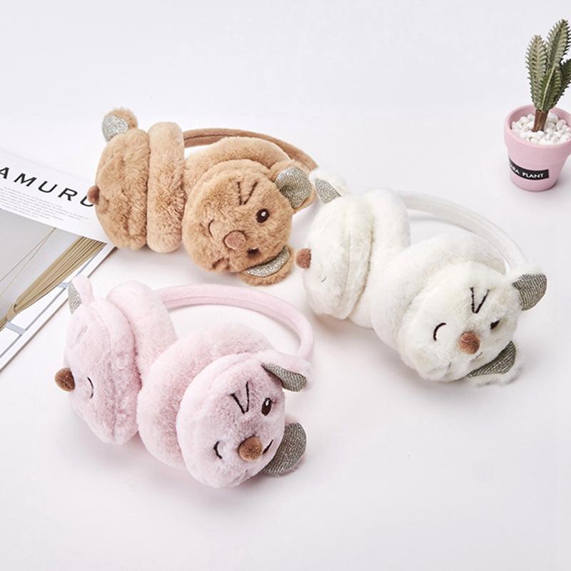 Kids Animal Earmuffs Kawaii Girl Boy Winter Fleece Headband Faux Ear Muffs Warm & Soft Fluffy