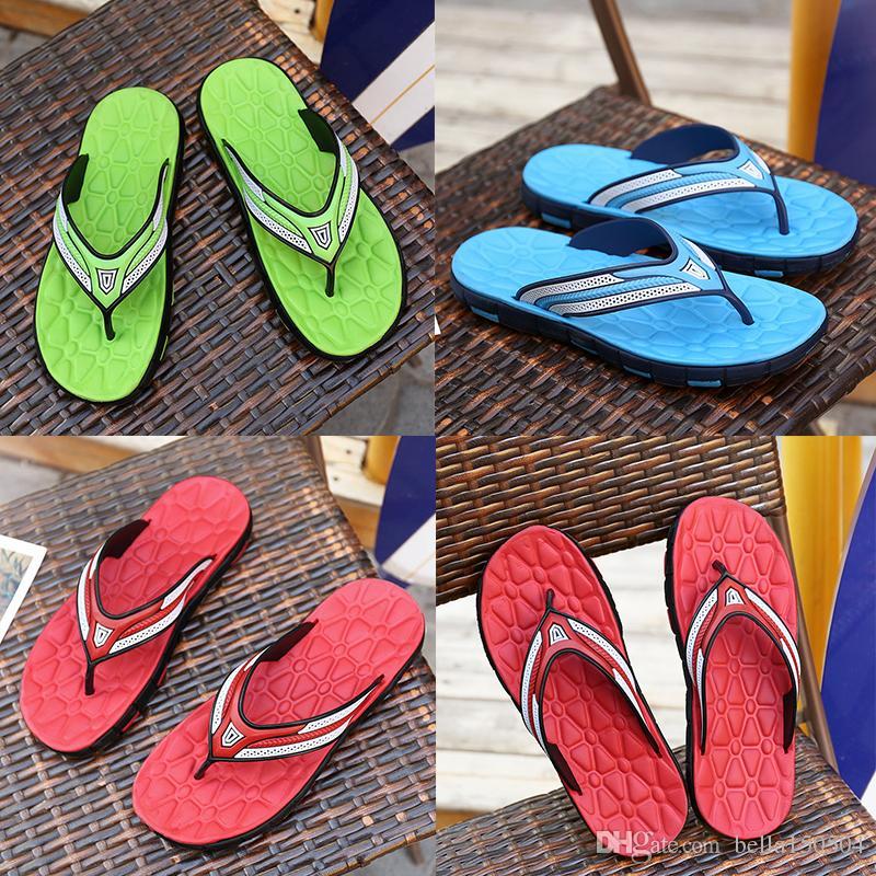 Yeni tasarımcı Sandalet Kauçuk Slayt Sandal Terlik Yeşil Kırmızı mavi Şerit Moda Tasarım Erkekler Klasik Yaz Çevirme Yaz plaj Sandal
