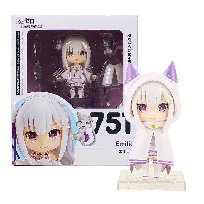 10cm Anime Re: Hayat Farklı Bir Dünya Sıfır Emilia Şekil 751 Q Versiyon PVC Action Figure Koleksiyon Model Oyuncak CY200519 Gönderen