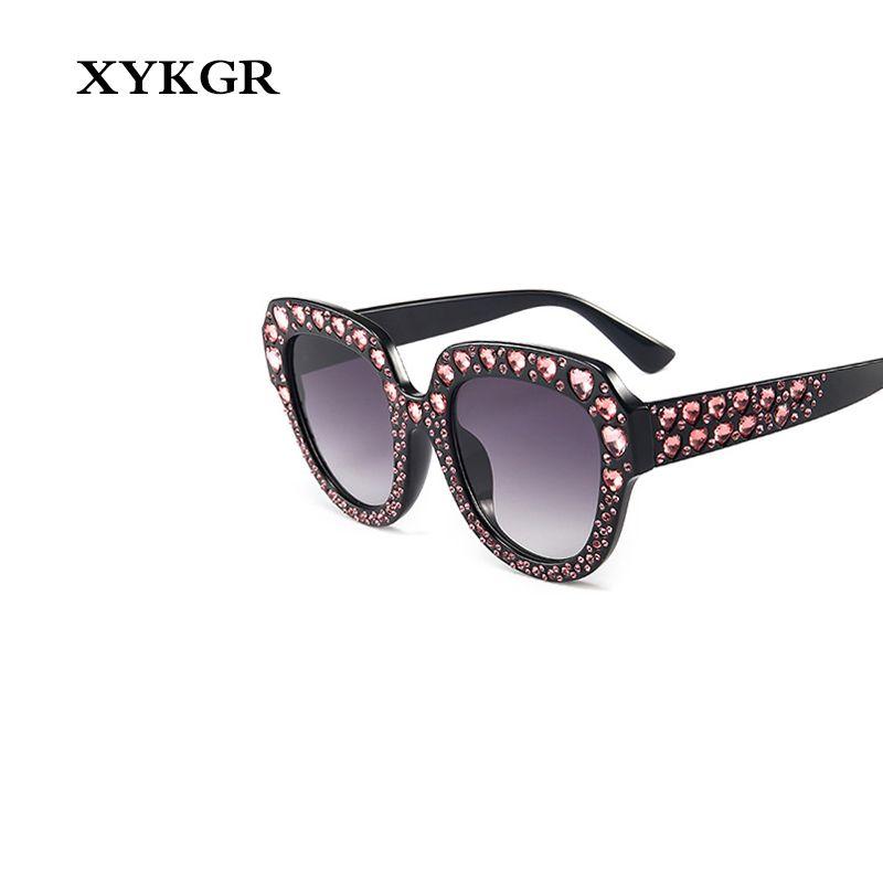 XYKGR cristal superdimensionada óculos de sol olho de strass gato amor sol olho das mulheres espelhar marca das mulheres óculos de sol UV400