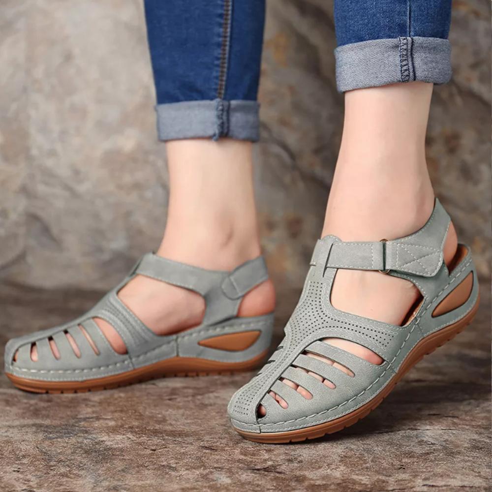 Large Size 35-44 Vintage-Frauen-Sommer-Sandalen aus Leder Schnalle beiläufige Nähen Frauen-Keil-Schuh-Dame-Plattform Retro Sandalen