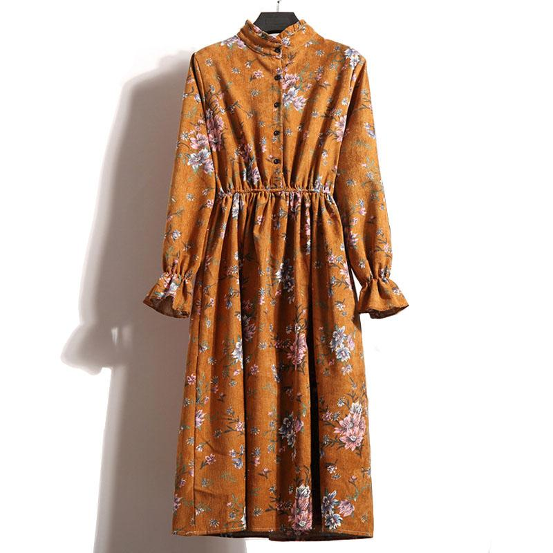 Automne Hiver Femmes Casual En Velours Côtelé Dress Rétro Taille Élastique À Manches Longues Stand Neck Imprimé Floral Robe robe Dropshipping