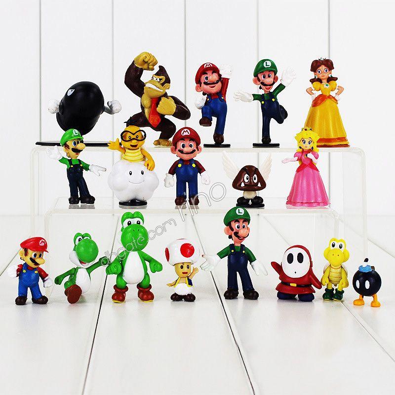 Super Mario Bros PVC action figures Cartoon Game Mario Luigi Yoshi Princess Characters Model figurines for kids toys 18pcs/set