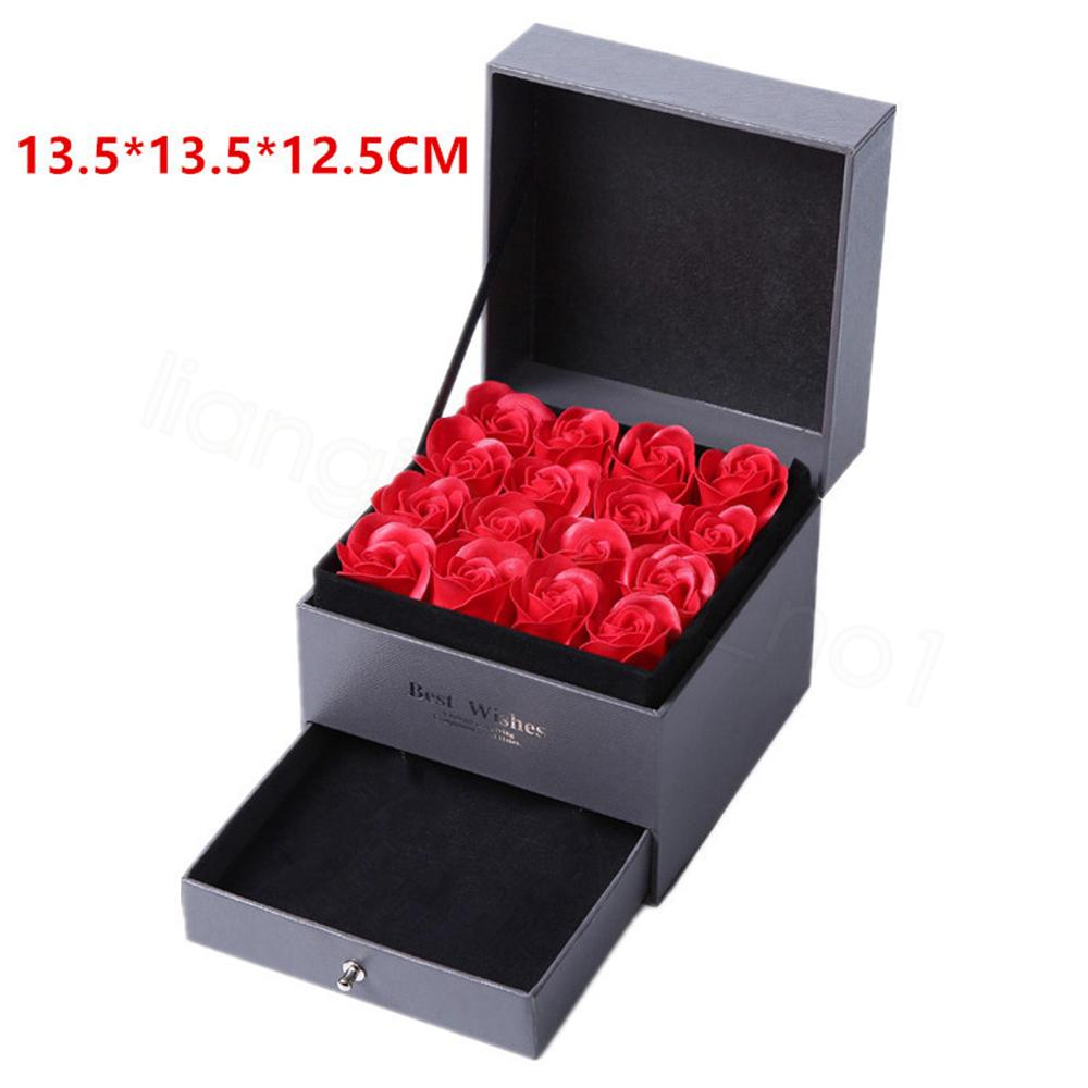 Artificial Rose Romantic Valentine's Day Wedding Mother's Day Festival Creative High Grade Gift Rose Soap Flower Drawer Jewelry Box FFA3471A