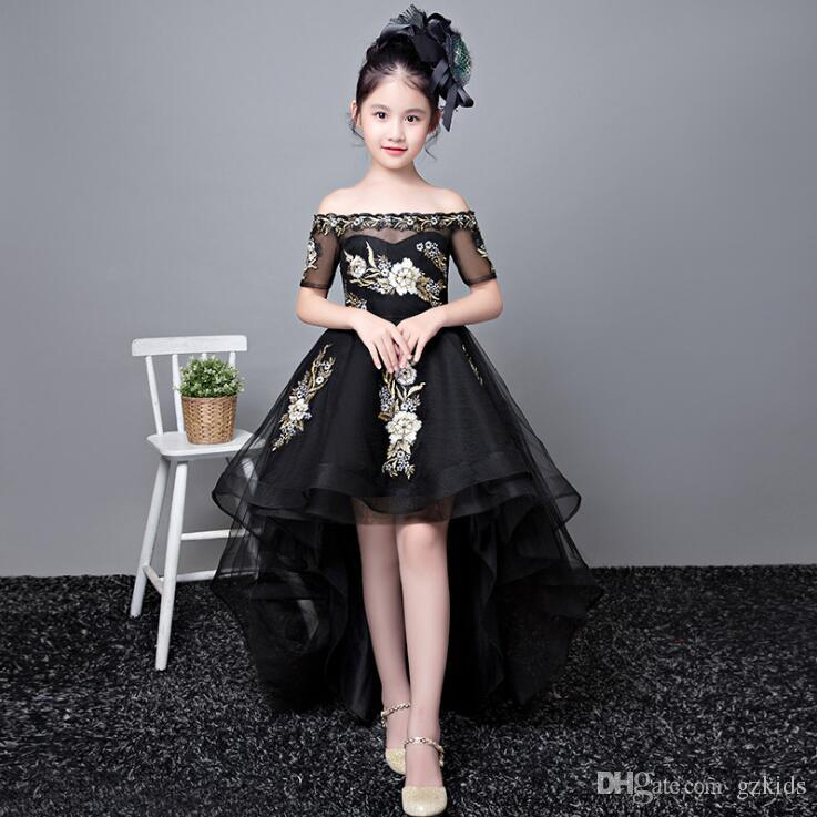 Children's Birthday Dresses New Winter Style Girl's Noble Fashion Show Black Tail Model Princess Skirt free shipping