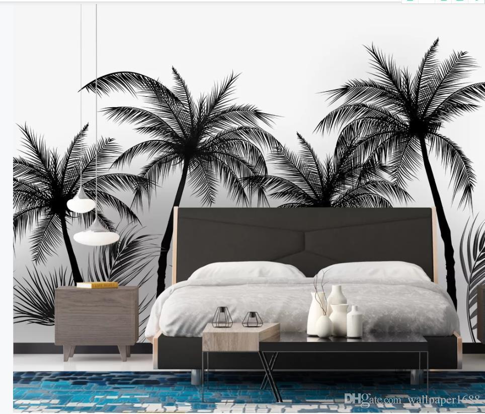 современные обои для гостиной черно-белый стиль черное дерево телевизор фон стены