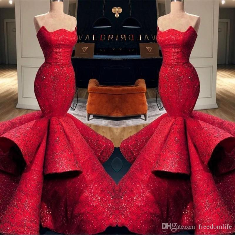 Beautiful Formal Red Evening Dresses 2020 Satin Strapless Sequins Applique Long Prom Dress Mermaid Pageant Gowns Ruffle Skirt
