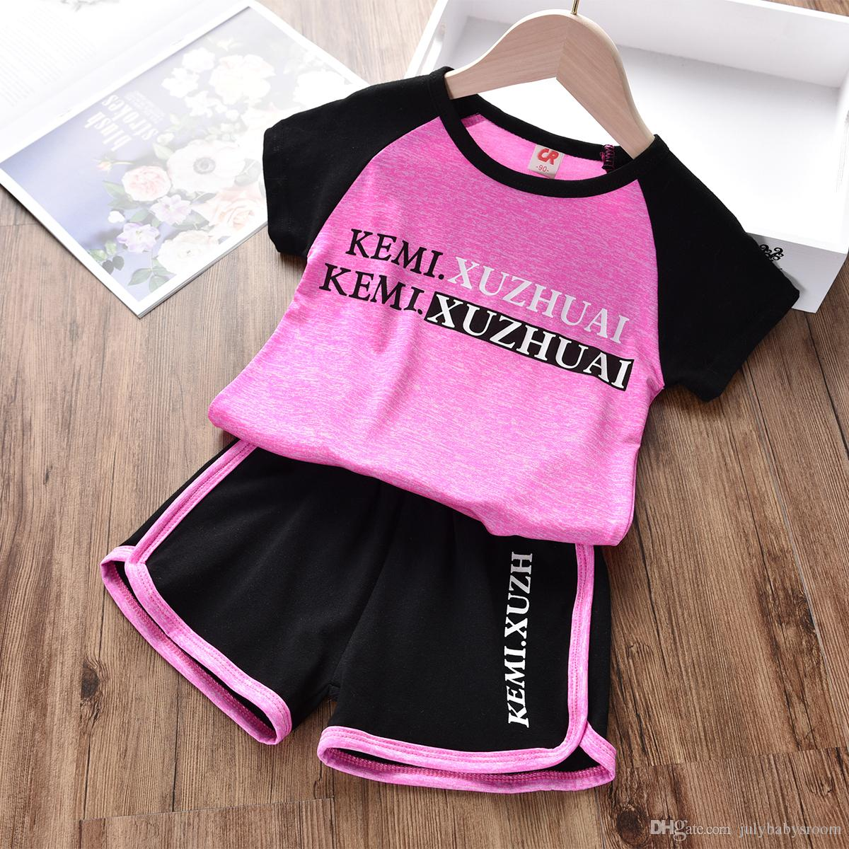 Kids Baby Sports Suits 2pcs Letters Printed Short Sleeve Cotton T-shirt+Shorts Pants Toddler Boys Girls Clothing Set