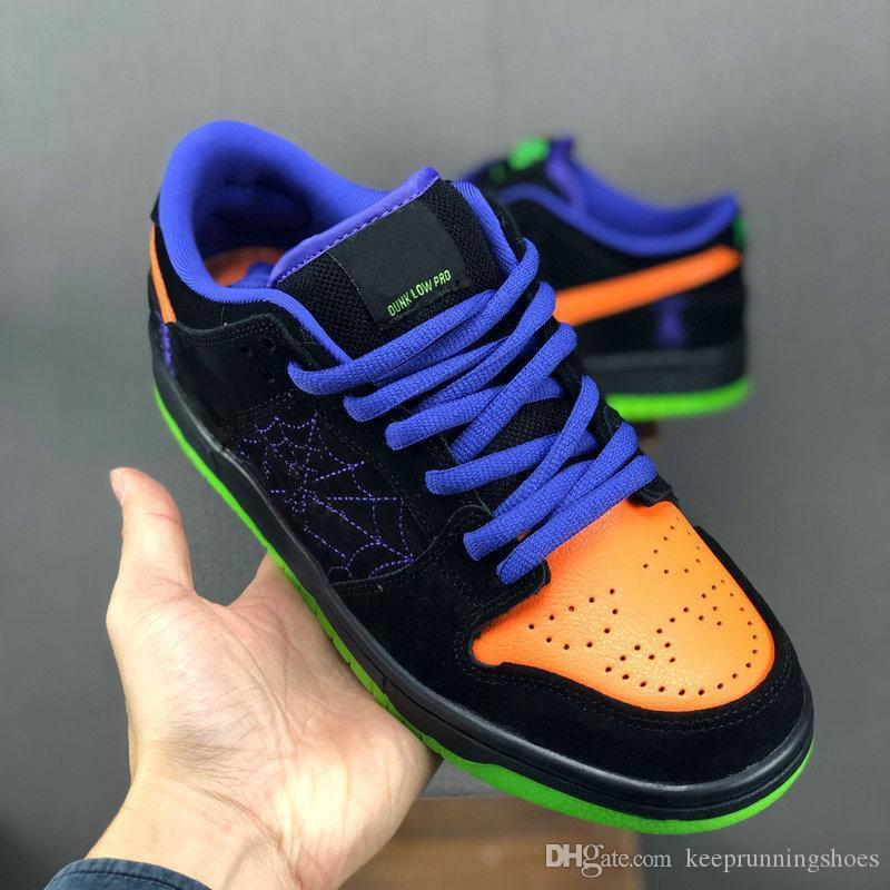 "Nike SB Dunk Low ""Night of Mischief"" Halloween Mischief Hommes Femmes Chaussures de course de Trick or Treat noir total Cour Orange Violet Volt Sport Sneakers"