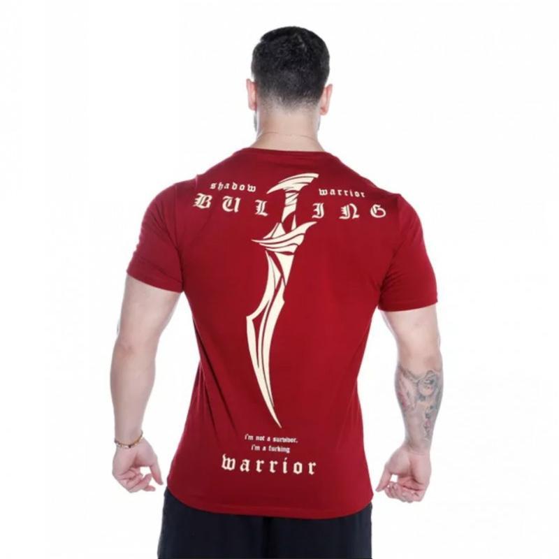 2020 Yeni Yaz Marka tişört Man Kırmızı Moda Vücut Baskılı Tişört Erkekler Büyük Boy Kısa Kollu Fitness Egzersiz Gömlek
