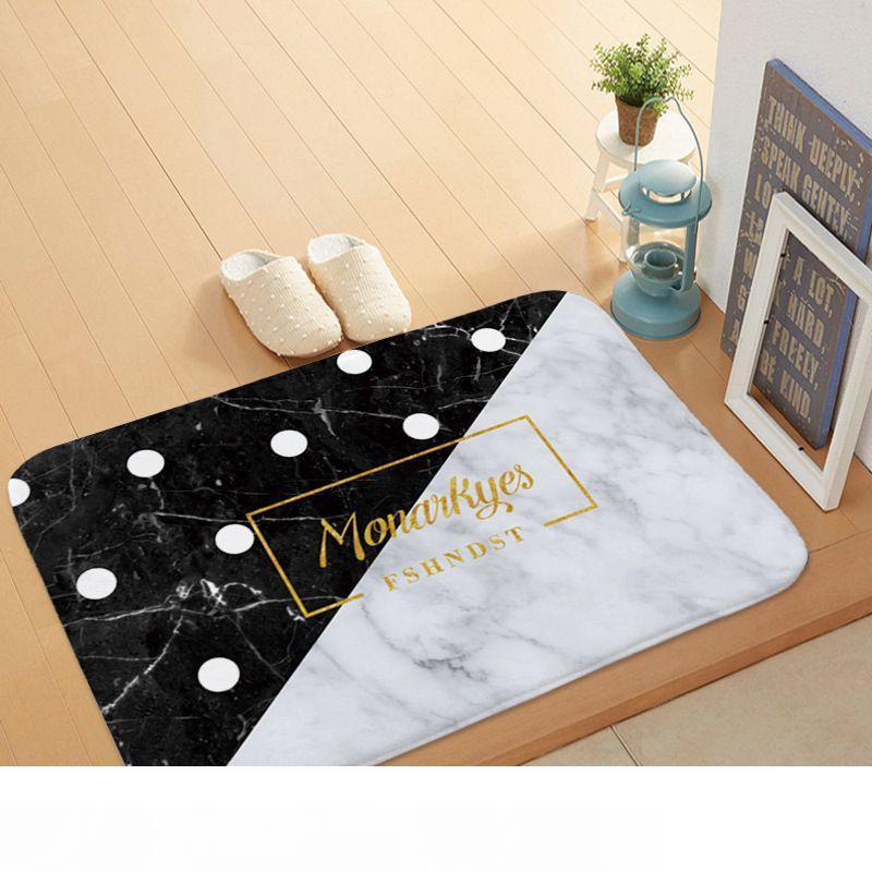 moderno design de mármore mat chão macio de flanela tapetes citações capacho Entrada do tapete de boas-vindas para cozinha tapete porta da frente