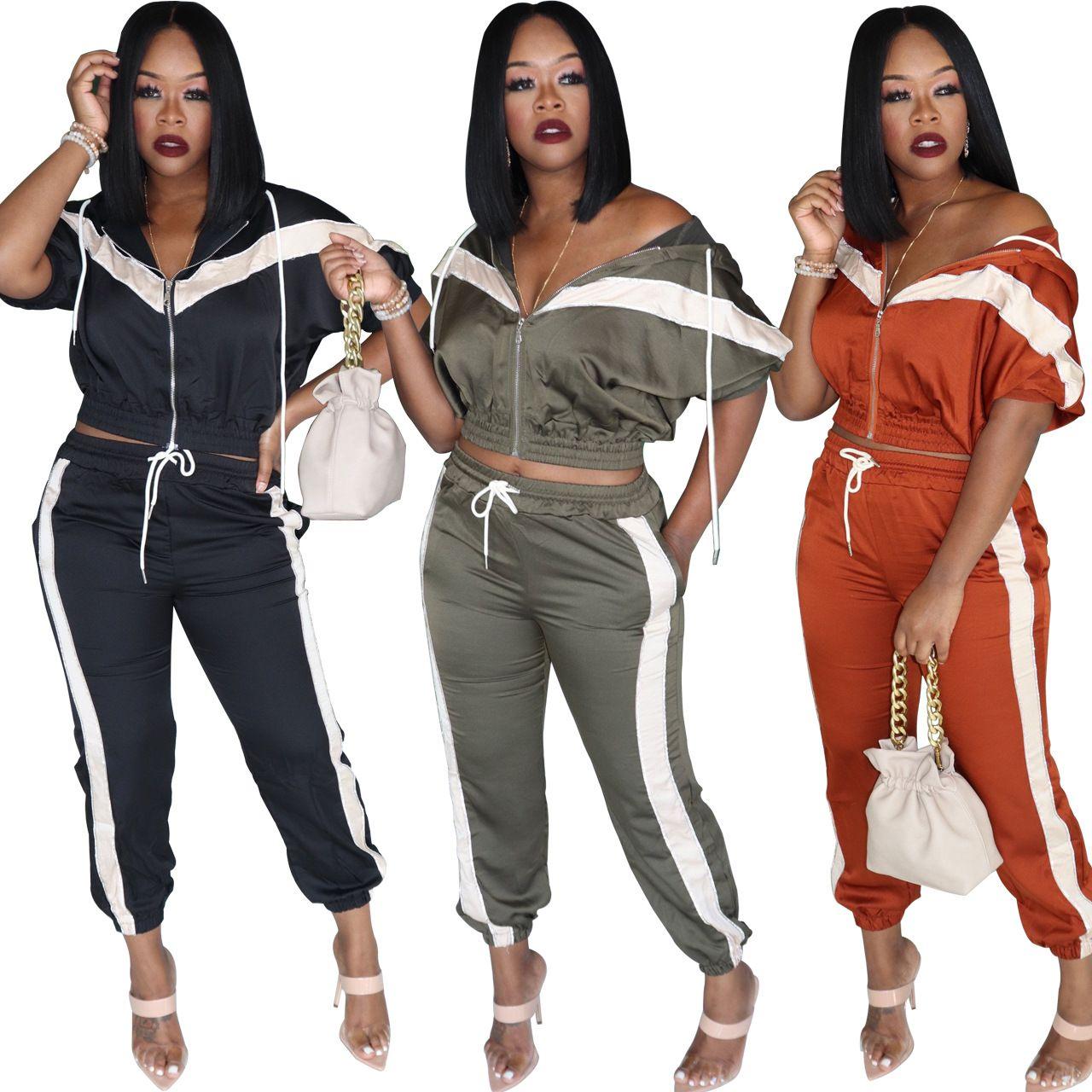 New Stripes Patchwork beiläufige mit Kapuze Tracksuits Zwei Stücke Lange Ärmel Reißverschluss-Jacken-Hosen-Anzeige Mode Frauen-Sport-Outfits Herbst