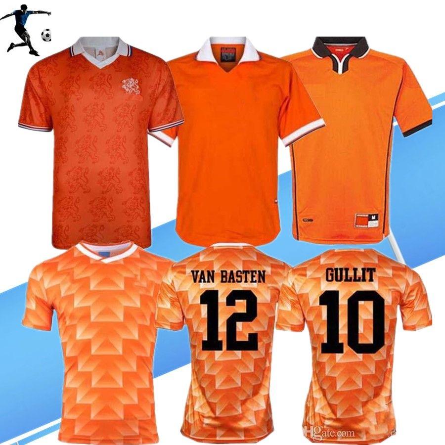 Retro 1988 Países Bajos camiseta de fútbol 88 Van Basten 1997 1998 1994 camisetas de Holanda Retro Bergkamp 97 98 12 Gullit Rijkaard Davids