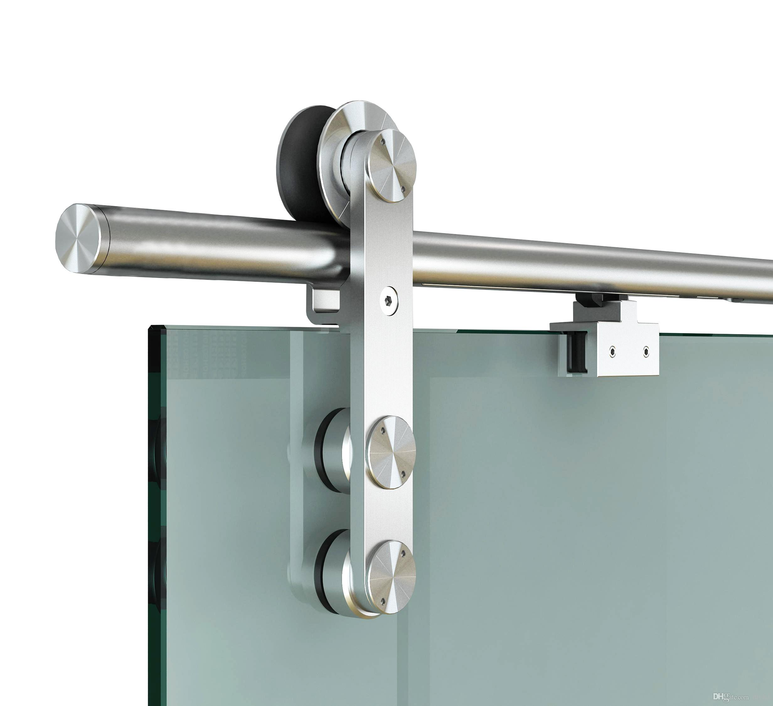 Diyhd 6 6ft Soft Close Glass Barn Door Hardware Stainless Steel Two Sides Soft Close Mechanism Office Glass Sliding Door Track With One Side