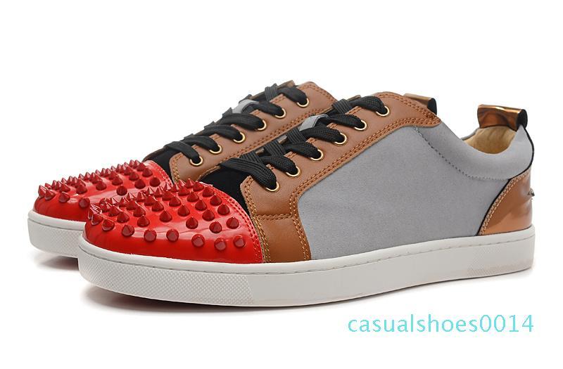 Mit Box Designer Sneakers Low Cut Spikes-Ebene-Schuh-Rot-Unterseite für Männer und Frauen Turnschuhe aus Leder Partei-Designer-Schuhe c14