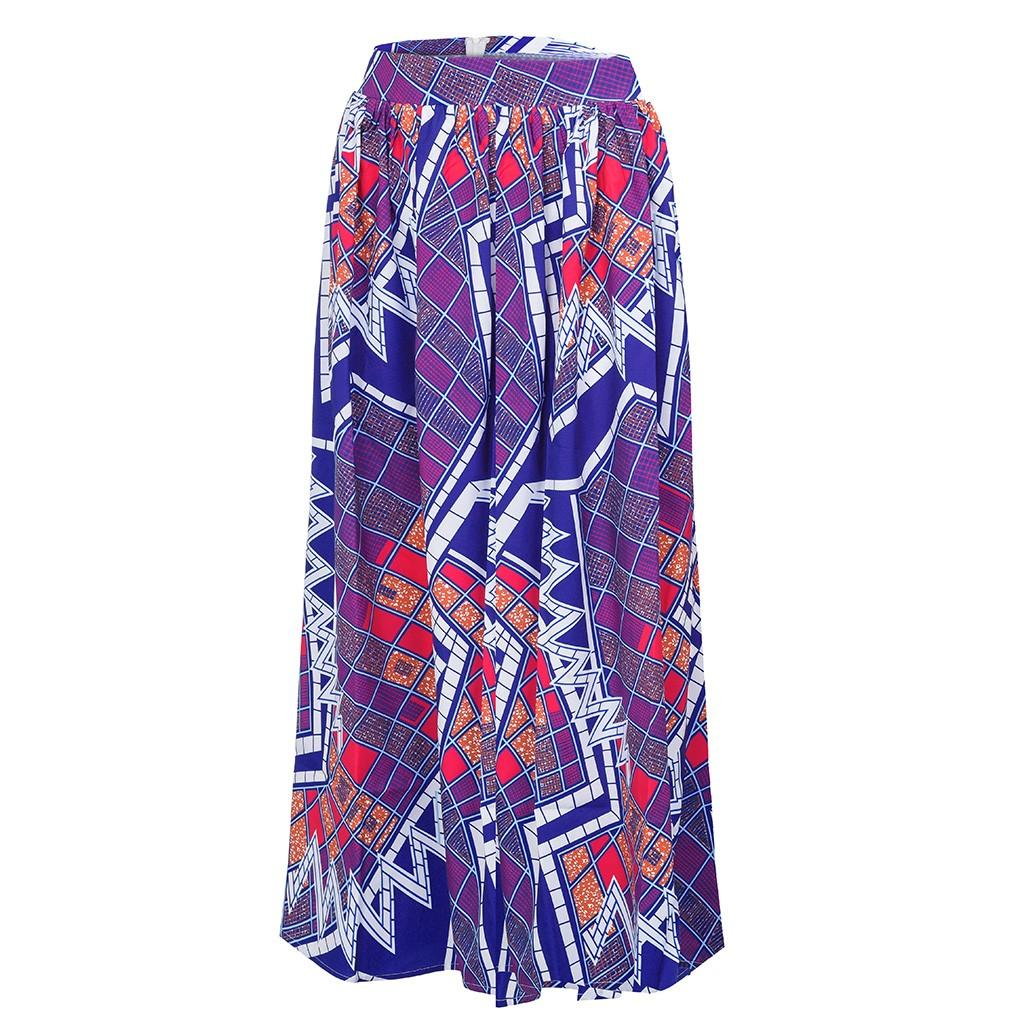 Womens Fashion Leisure African Flower Long High Waist A-line Long Fashion African Flower High Waist A-Line Dress