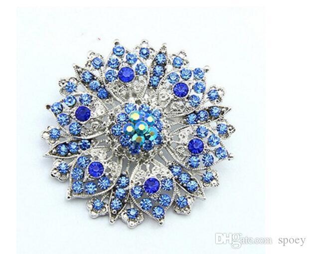 Neue Ankunft Charmefrauen 2,4 Zoll-Silber überzogene Zink-Legierung freier Rhinestone-Kristall Diamante Frauen große Blumen-Vintage Look Brosche 103